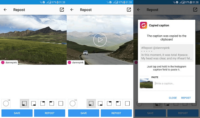 Приложение для репоста в Инстаграм