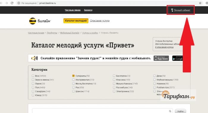 Официальный сайт privet.beeline.ru