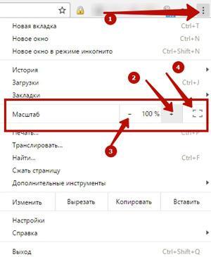 Изменение масштаба в Гугл