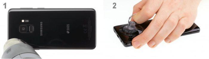 Открыть заднюю крышку на смартфоне Самсунг