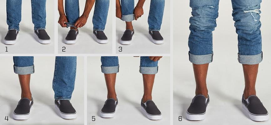Bicycle cuffed Jeans paired with Vans Classic Slip On sneakers sneaker color: black