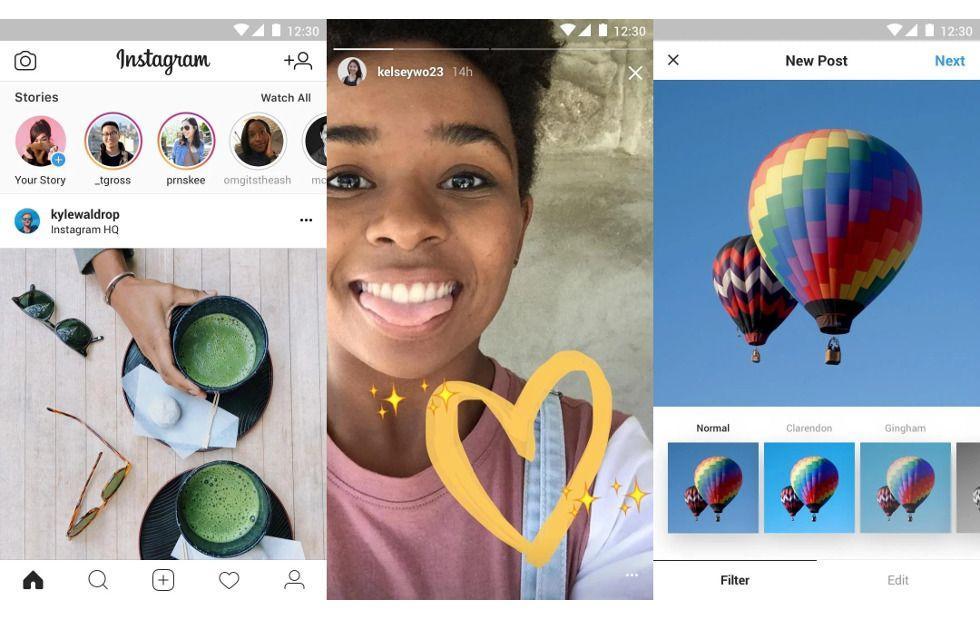 Интерфейс Instagram Lite