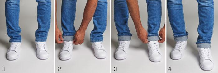 Single roll cuffed jeans paired with adidas Originals Stan Smith sneakers sneaker colors: running white/new navy